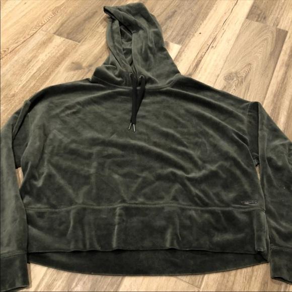 aea6851deb0 Calvin Klein Tops - Calvin Klein performance green velour crop hoodie